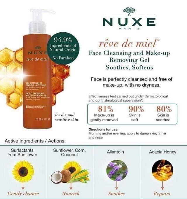 Sữa rửa mặt Nuxe có thành phần lành tính từ tự nhiên, an toàn cho da